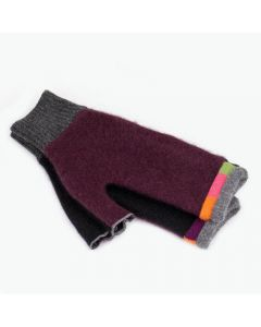Fingerless Mittens - Burgundy, Black with Grey