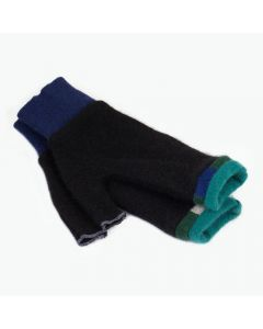 Fingerless Mittens - Black with Teal