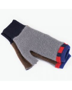 Fingerless Mittens - Purple with Grey