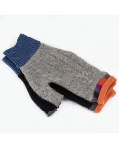 Fingerless Mittens - Grey Black with Orange
