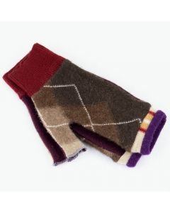 Fingerless Mittens - Pattern Brown with Burgundy