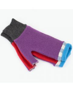 Fingerless Mittens - Purple, Red with Blue