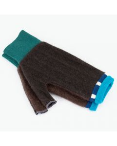 Fingerless Mittens - Brown with Blue