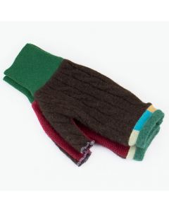 Fingerless Mittens - Brown, Red with Green