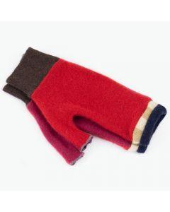Fingerless Mitten MS8446 Red w/ Navy Blue - Small