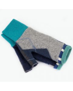 Fingerless Mitten MS8465 Grey Argyle w/ Blue - Small