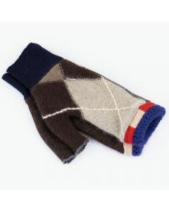 Fingerless Mittens - Pattern Brown with Blue