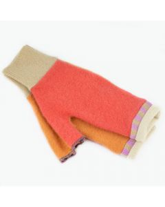 Fingerless Mitten - Small MS9027 Coral Pink & Orange w/ Oat
