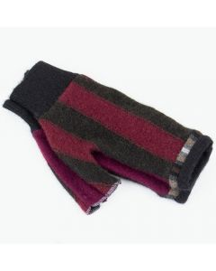Fingerless Mitten - Small MS9128 Burgundy & Brown Stripe w/ Black
