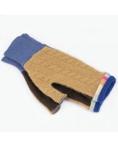 Fingerless Mitten - Small MS9131 Camel & Brown w/ Blue