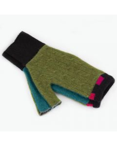 Fingerless Mitten - Small MS9136 Green w/ Hot Pink & Black