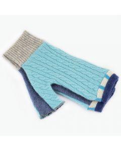 Fingerless Mitten - Small MS9149 Light & Denim Blue w/ Grey