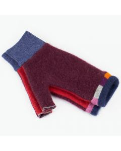 Fingerless Mitten - Small MS9281 Burgundy & Red w/ Blue