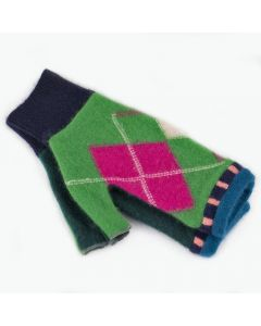 Fingerless Mitten - Small MS9369 Green & Pink Argyle w/ Teal
