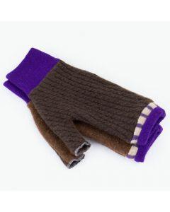 Fingerless Mitten - Small MS9394 Chocolate Brown w/ Purple