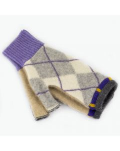 Fingerless Mitten - Small MS9422 Purple & Grey Argyle w/ Oat
