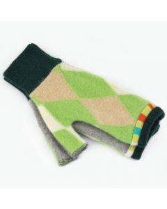 Fingerless Mitten - Small MS9443 Green & Oat Argyle w/ Light Grey