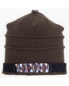 Saturn Hat S9189 Chocolate Brown & Black w/ Blue Pattern