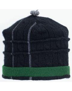 Saturn Hat S9225 Black Split w/ Green - Large