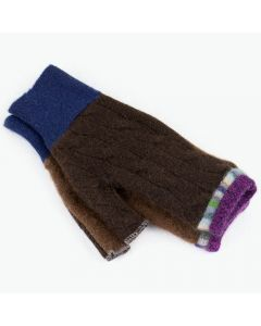 Fingerless Mitten - Small MS9452 Chocolate Brown w/ Purple & Blue