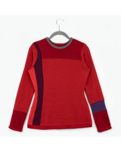 Trixie Sweater Red w/ Grey- Large